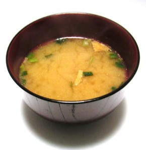Probably the best known use of miso- miso soup.